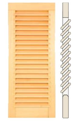 Fensterladen: Überstehende, schräg eingefräste Lamellen