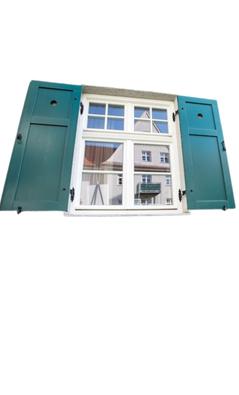 Fensterladen: Blickdicht durch eine beidseitig abgeplattete Füllung